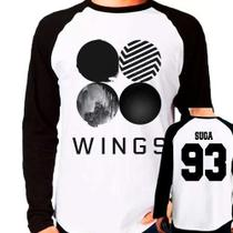 Camiseta Kpop Bangtan Boys Bts Wings Suga 93 Raglan Longa - Eanime