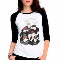 Camiseta Kpop Bts Bangtan Boys Anime Raglan Babylook 3/4 - Eanime