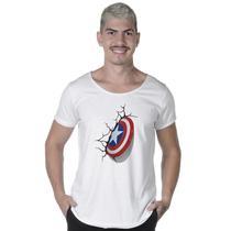 """Camiseta Long Line Estampada """"ESCUDO CAPITÃO AMÉRICA"""" - Suffix"""