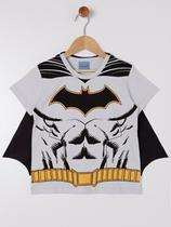 Camiseta Manga Curta Batman Infantil Para Menino - Off White - DC
