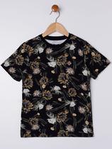 Camiseta Manga Curta Infantil Para Menino - Preto/amarelo - Fico