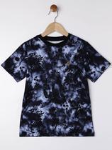 Camiseta Manga Curta Infantil Para Menino - Preto/azul - Fico