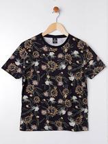 Camiseta Manga Curta Juvenil Para Menino - Preto/amarelo - Fico