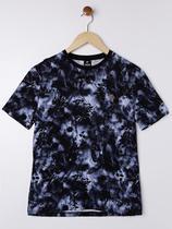 Camiseta Manga Curta Juvenil Para Menino - Preto/azul - Fico
