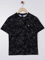 Camiseta Manga Curta Juvenil Para Menino - Preto - Fico