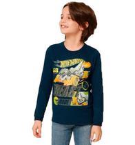Camiseta Manga Longa Hot Wheels Masculino Malwee Kids -