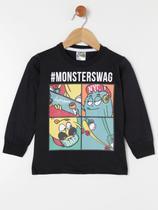 Camiseta Manga Longa Infantil Para Menino - Preto - Sempre Kids