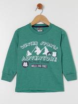 Camiseta Manga Longa Infantil Para Menino - Verde - Sempre Kids