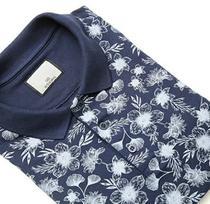 Camiseta Masculina Gola Polo Ixória Piquet Azul Marinho Floral -