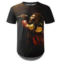 Camiseta Masculina Longline Bob Marley Estampa Digital md01 - Over fame