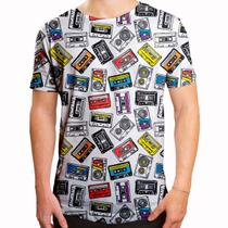 Camiseta Masculina Longline Swag Fitas Cassete K7 - Over fame
