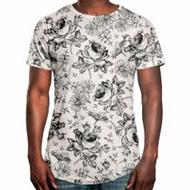 Camiseta Masculina Longline Swag Flores Selvagens - Over fame