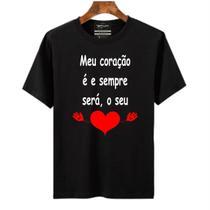 Camiseta masculina meu coração é e sempre será o seu - Portal Fitnes