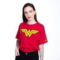 Camiseta Mulher Maravilha Logo Clássico Dc Comics Vermelha 6 Piticas -