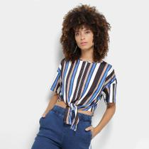 Camiseta My Favorite Thing (s) Cropped Estampa Listrada Amarração Feminina -