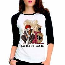 Camiseta Naruto Shippuuden Sabaku Gaara Raglan Babylook  3/4 - Eanime