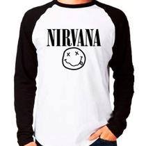 Camiseta Nirvana Punk Rock Grunge Raglan Manga Longa - Eanime