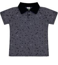 "Camiseta Polo Masculina Infantil Estampada ""Skateboard"" - Sempre Kids"
