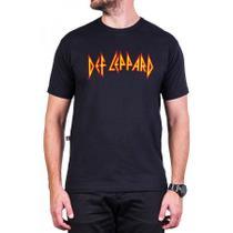 Camiseta Preta Def Leppard Escrita Masculina Bandalheira -
