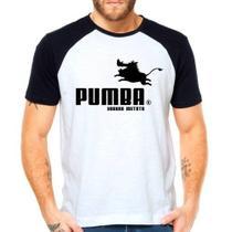 Camiseta Pumba Puma Rei Leão Raglan Manga Curta - Eanime