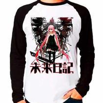 Camiseta Raglan Anime Mirai Nikki Yuno Gasai Manga Longa - Eanime