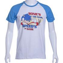Camiseta Raglan Branca/Azul Sonic The Hedgehog Speeds my Game - Tectoy