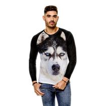 Camiseta Raglan Cachorro Husky Siberiano Black Manga Longa - 429K