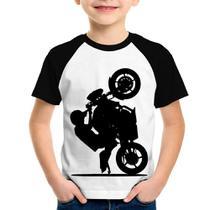 Camiseta Raglan Infantil Moto Grau XJ6 - Branco/Preto - Foca na Moda -