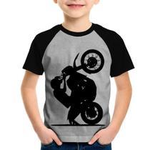 Camiseta Raglan Infantil Moto Grau XT 660 - Cinza/Preto - Foca na Moda -