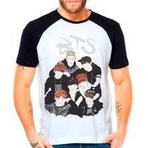 Camiseta Raglan Kpop Bts Bangtan Boys Versão Anime - Eanime