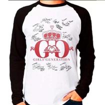 Camiseta Raglan Longa Kpop Girls Generation Snsd Autógrafos - Eanime