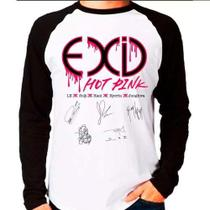 Camiseta Raglan Longa Kpop K-pop Exid Hot Pink Autógrafos - Eanime
