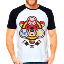 Camiseta Raglan Pokemon Go Mystic Valor Instinct Pokebola - Eanime