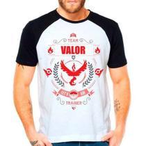 Camiseta Raglan Pokemon Go Team Valor Moltres Time Vermelho - Eanime