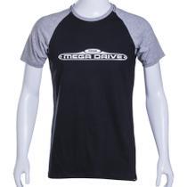 Camiseta Raglan Preta/Cinza Sega Mega Drive Authentic Brand - Tectoy