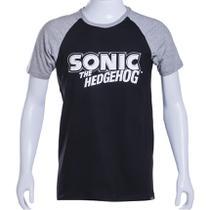 Camiseta Raglan Preta/Cinza Sonic The Hedgehog Authentic Brand Logo PB - Tectoy
