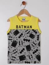 Camiseta Regata Batman Infantil Para Menino - Amarelo/cinza -