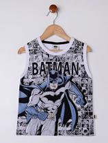 Camiseta Regata Batman Infantil Para Menino - Branco -