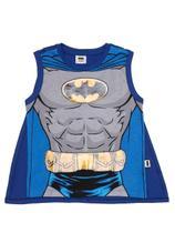 Camiseta Regata Batman Infantil Para Menino - Cinza/azul -