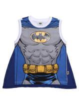 Camiseta Regata Batman Infantil Para Menino - Cinza/branco -