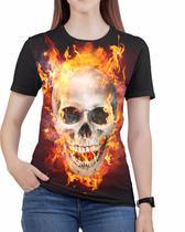Camiseta Rock Caveira Moto Harley Feminina Roupas - Alemark