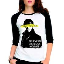 Camiseta Sherlock Holmes Moriarty Série Raglan Babylook 3/4 - Eanime