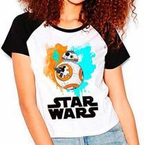 Camiseta Star Wars Bb8 Filme Raglan Babylook Feminina - Eanime