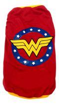 Camiseta Super Heróis  Mulher Maravilha Vermelha  Tamanho M - Nica Pet