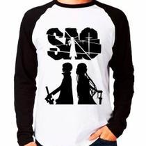 Camiseta Sword Art Online Sao Dark Style Raglan Manga Longa - Eanime