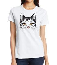 Camiseta t-shirt feminina baby look manga curta estampa gato P - Becabacana Modas