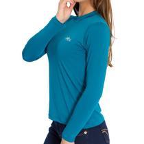 Camiseta Térmica Manga Longa Feminina Azul Petróleo - Mprotect