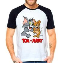 Camiseta Tom E Jerry Raglan Manga Curta - Eanime