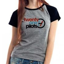 Camiseta Twenty One Pilots V2 Banda Raglan Mescla Babylook - Eanime