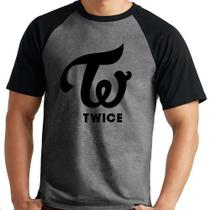 Camiseta Twice Logo Kpop Raglan Mescla Curta - Eanime